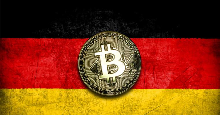 moeda bitcoin na bandeira da alemanha