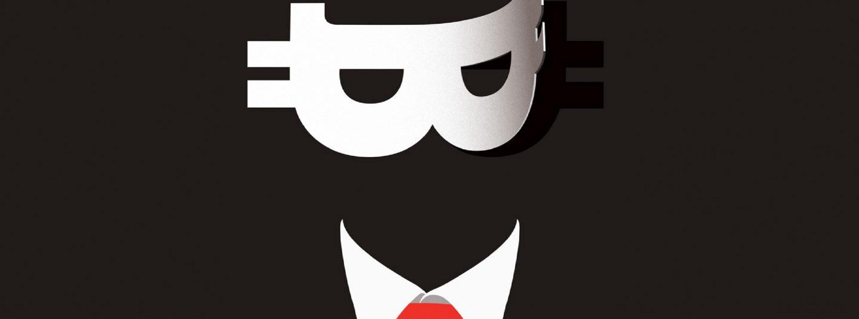 satoshi nakamoto - cara preta com máscara de bitcoin