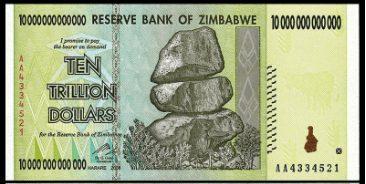 Nota de dez trilhões de dólares zimbabuano
