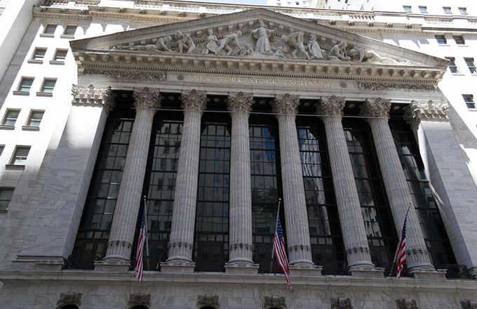 Fachada do prédio da origem da Bolsa de Valores de nova york