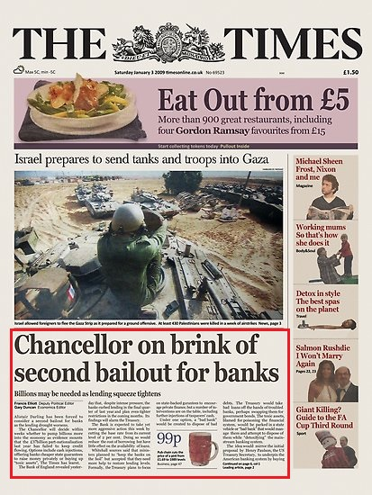 jornal noticiando o auge da crise de 2008