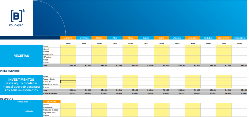Planilha de controle financeiro - Versão simples