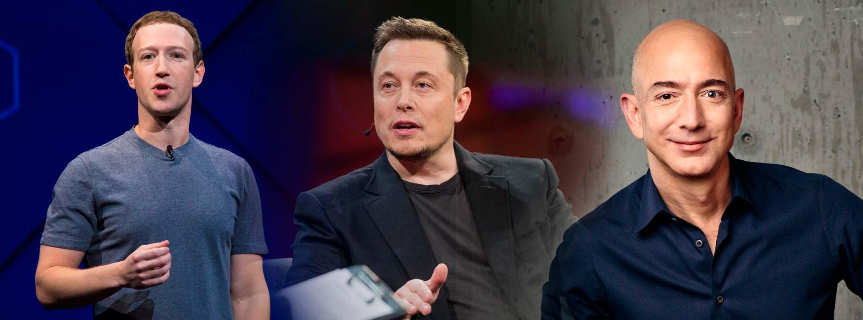 Mark Zuckenberg, Elon Musk e Jeff Bezos
