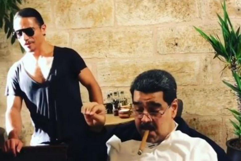 Maduro comendo em restaurante famoso