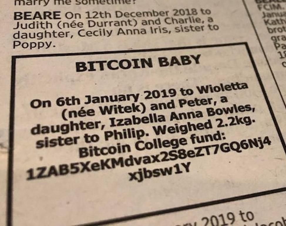 Anúncio baby bitcoin