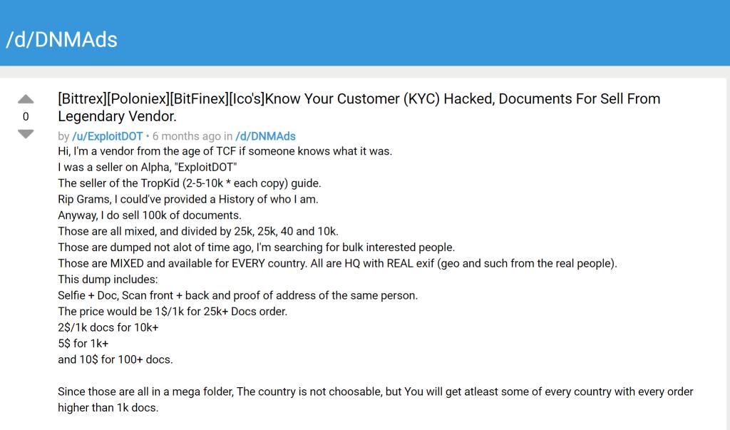 Venda de KYC na deep web