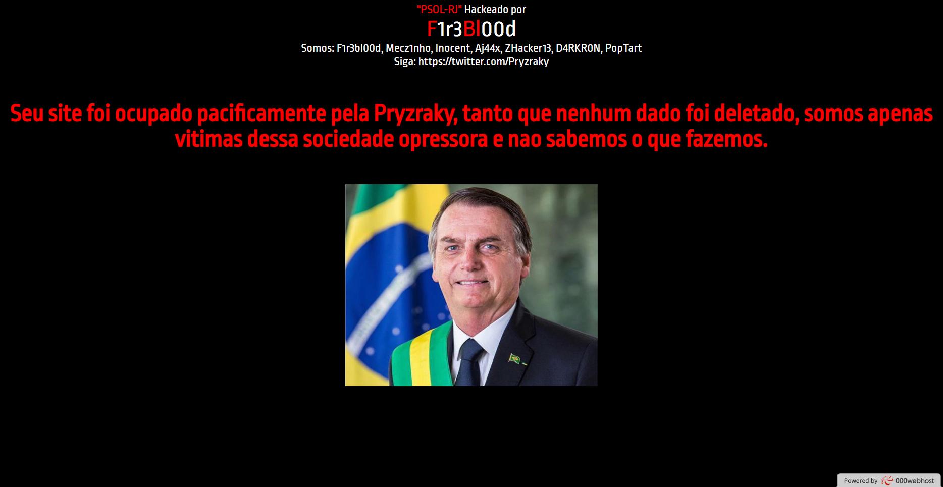 Hackers invadem site do PSOL-RJ e publicam foto de Jair Bolsonaro