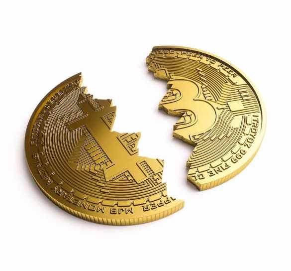 halving moeda partida ao meio