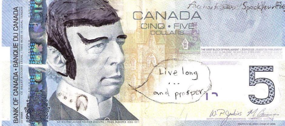 Conheça as notas de 5 do Canadá que continham Spock, de Star Trek