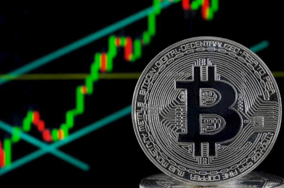 Dominância do Bitcoin moeda decorativa de prata gráfico bullish