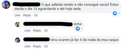 Usuário da Atlas reclamando sobre o saque no Facebook