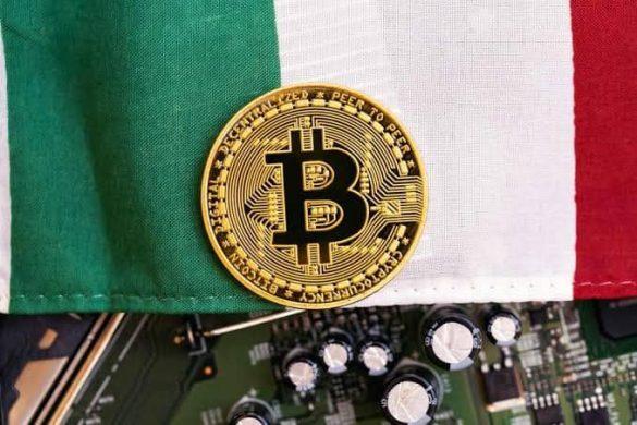 Italia com uma moeda de bitcoin