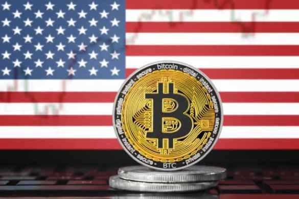 América do Norte bandeira dos EUA e bitcoin