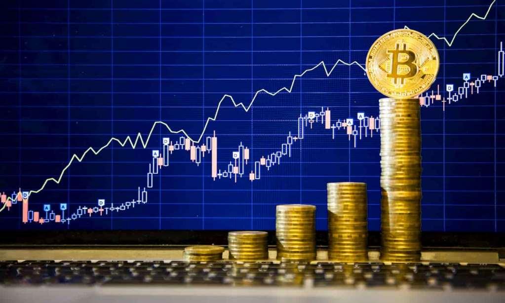 Bitcoin crescendo no gráfico