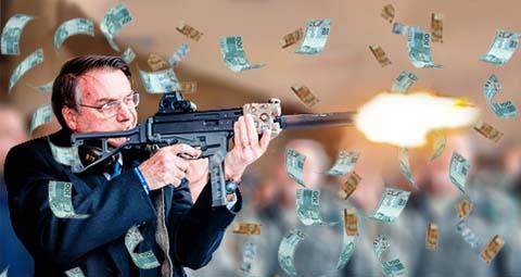 Bolsonaro atirando dinheiro