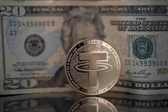 Moeda de Tether e dólar de fundo