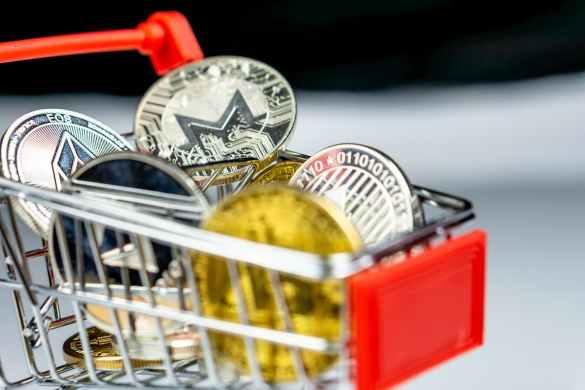 carrinho de compras com criptomoedas que mais valorizaram