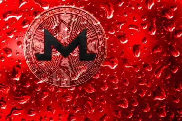 Moeda Monero com gotas de água e fundo vermelho