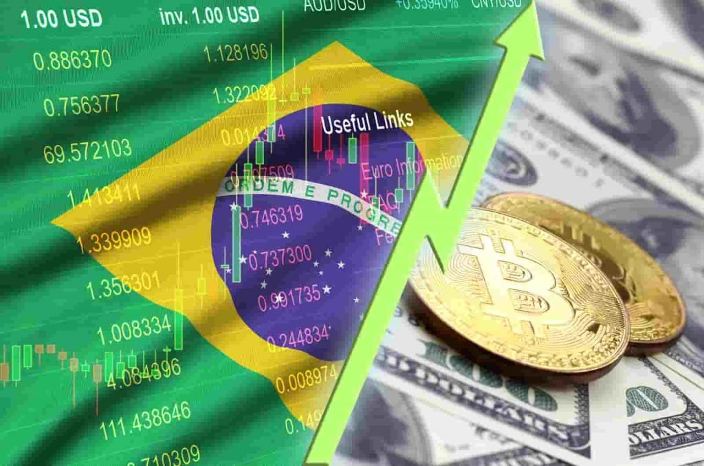 Bitcoin e dólar no Brasil subindo