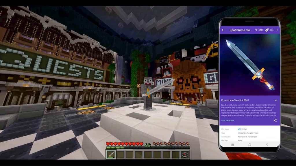 Jogador de Minecraft e carteira Enjin