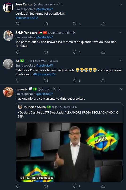 Comentários do Tweet de Alexandre Frota