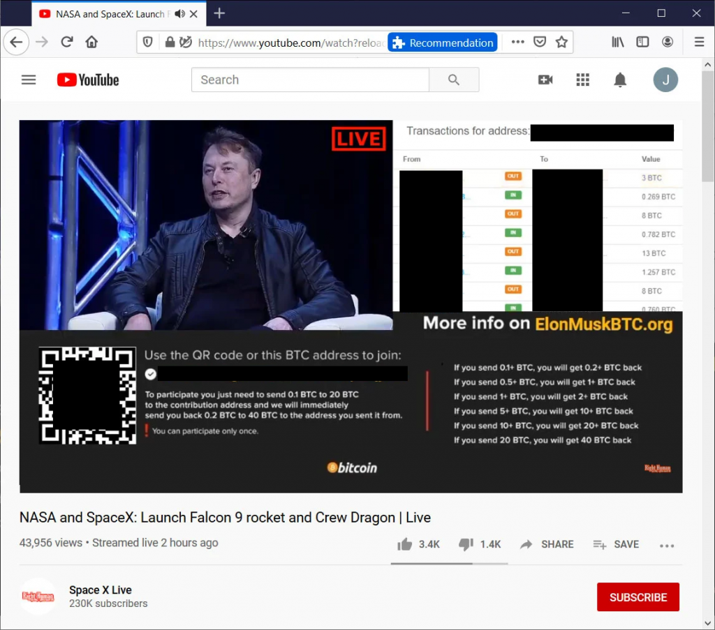 Livestream de scam da falsa SpaceX