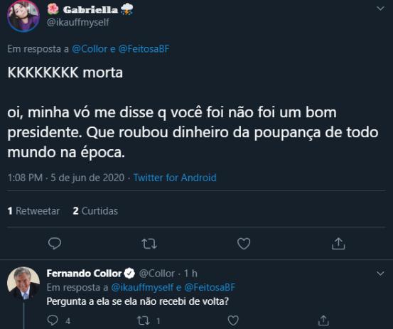 Fernando Collor questiona em tweet se não receberam dinheiro de volta