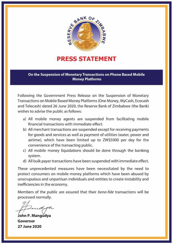 comunicado de imprensa do banco de reserva do zimbábue
