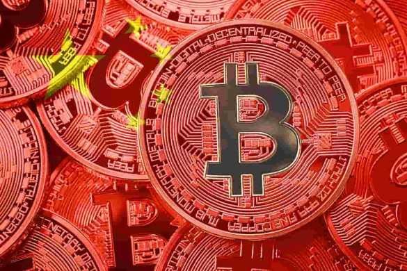 Moeda de bitcoin com cores da bandeira chinesa