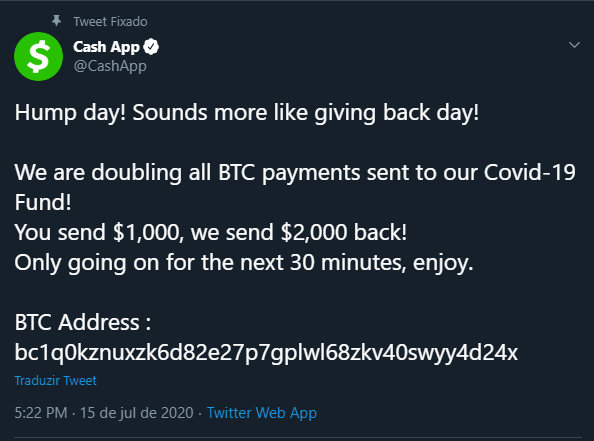 Conta do Twitter da CashApp invadida