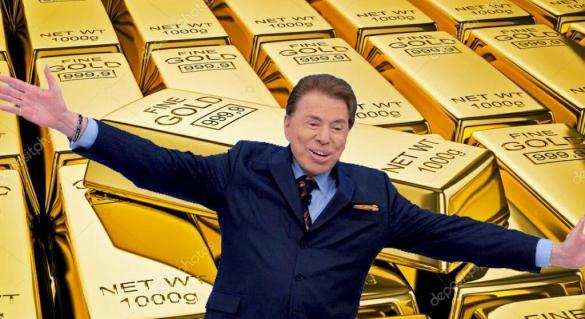 Silvio Santos e barras de ouro