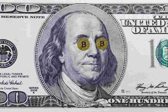 Dollar com duas moedas de bitcoin