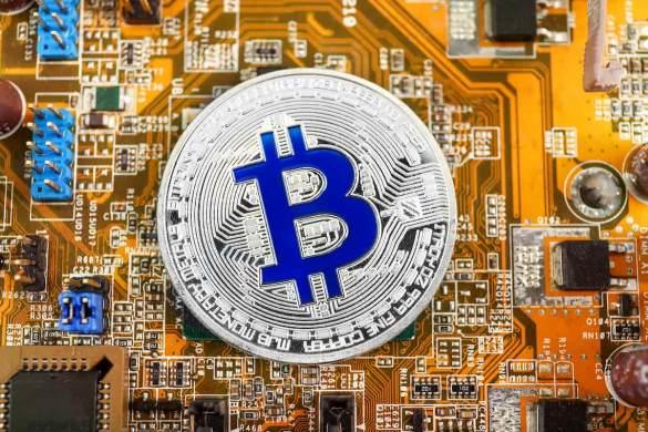 Bitcoin moeda azul representando a taxa de mineração
