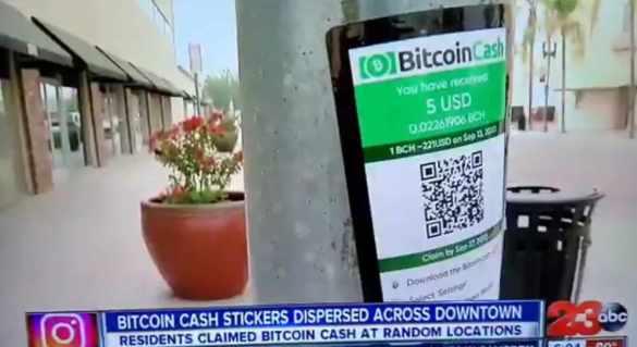 bitcoin cash espalhado pela rua