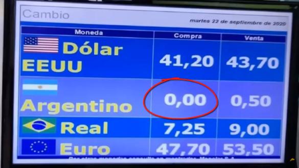 Casas de câmbio no Uruguai registraram a cotação do peso argentino em zero. A economia da Argentina está em ruínas, mas por que zero?