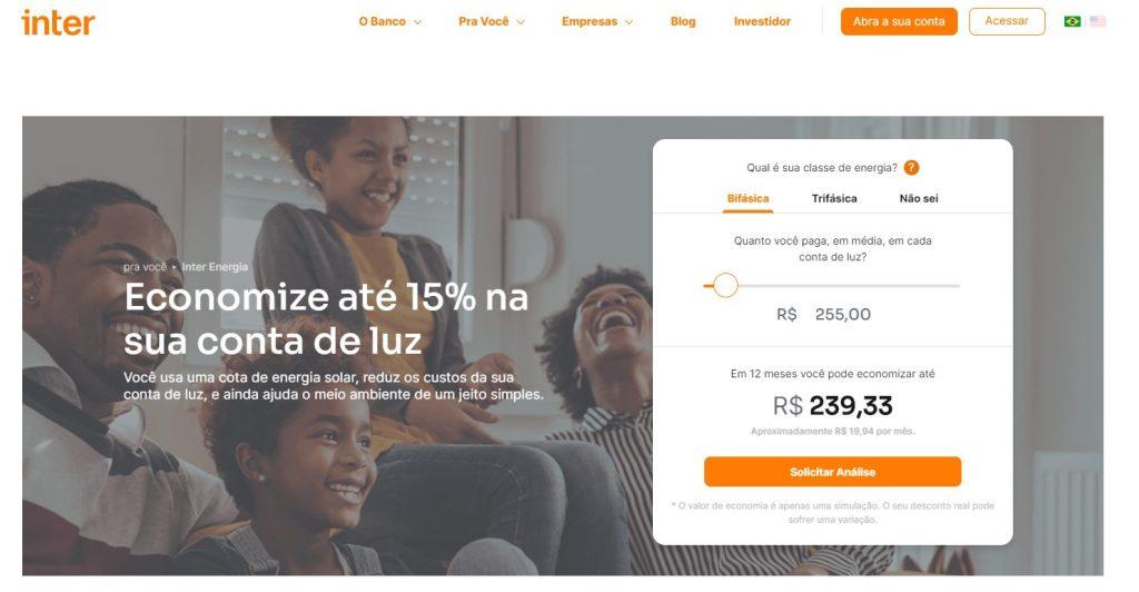 Print do site Banco Inter