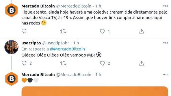 Print do tweet apagado do Mercado Bitcoin sobre parceria com o Vasco da Gama