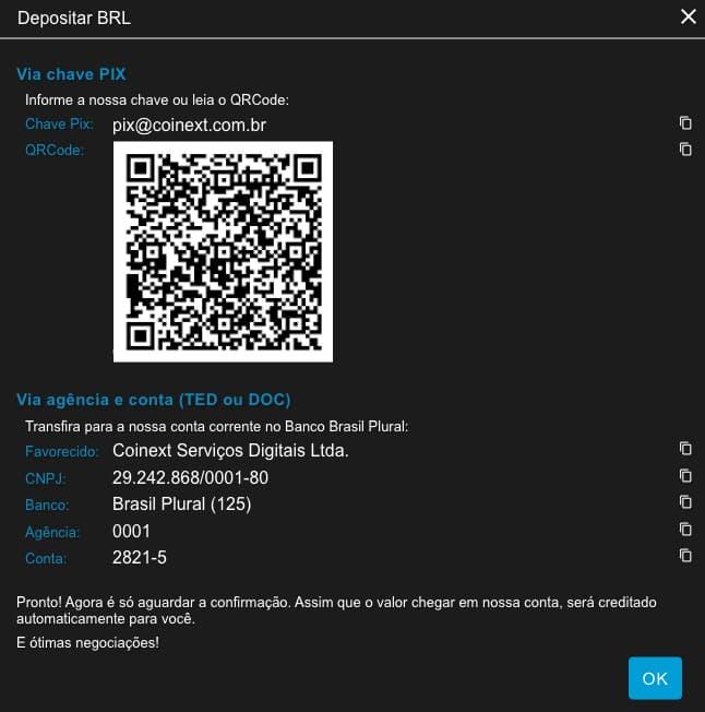Dados bancários da Coinext para depositar saldo e comprar bitcoin