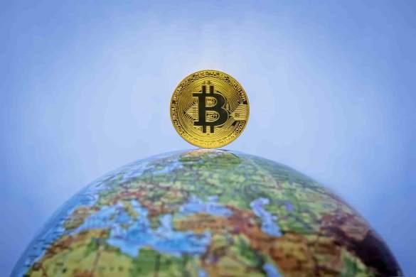 Bitcoin no globo terrestre