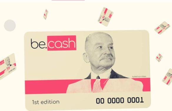 cartão de Bitcoin Cash com rosto de Mises