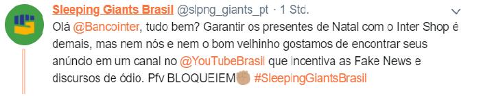 Tweet do Sleeping Giants Brasil. Fonte: Archive Web.