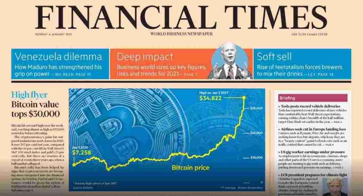 Bitcoin é capa do Financial Times em seu aniversário