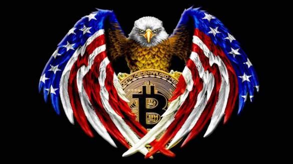 Bitcoin nas asas de uma águia com a bandeira dos EUA