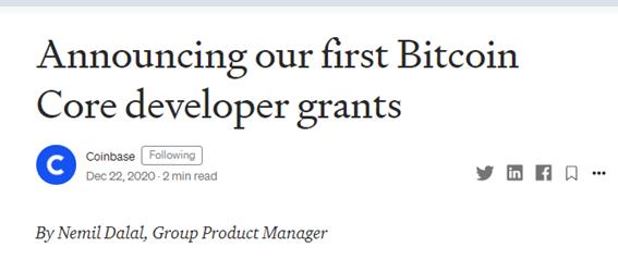 Anúncio da Coinbase de doação para desenvolvedores de bitcoin