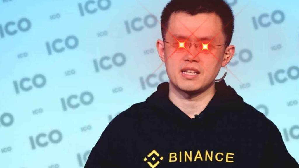 CZ com olhos de laser estressado com bitcoin