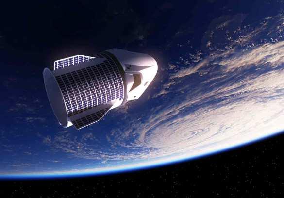 Planeta terra de fundo com nave espacial na frente