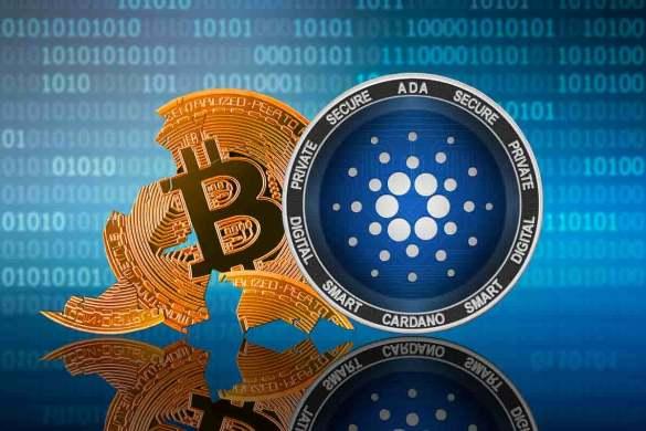 moeda de Cardano com bitcoin despedaçado