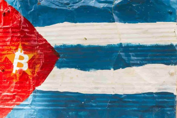 bandeira de Cuba com símbolo do Bitcoin