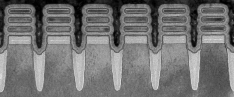 fila de chip da ibm de nanofolha com 2 nm.