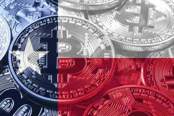 Bitcoin com a bandeira do Texas.